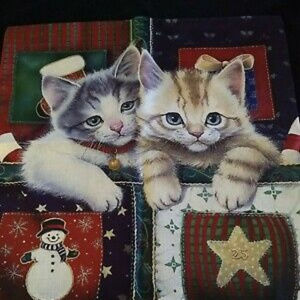 New Christmas Throw Pillow Cover 2 Kittens Cats